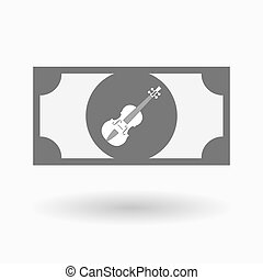 Isolated bank note icon with a violin - Illustration of an...