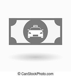Isolated bank note icon with a taxi icon - Illustration of...