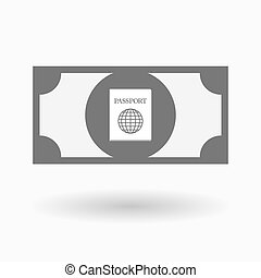 Isolated bank note icon with a passport - Illustration of an...
