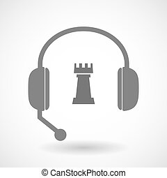 Isolated hands free headset icon with a rook chess figure -...