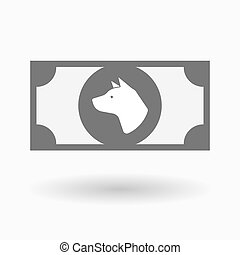 Isolated bank note icon with a dog head - Illustration of an...