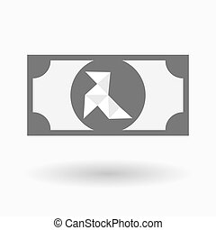 Isolated bank note icon with a paper bird - Illustration of...