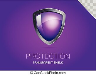 Realistic metal shield with transparent armored glass. Vector illustration of a protection or security. Purple background.