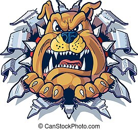 Bulldog Ripping Metal Background - Vector cartoon clip art...
