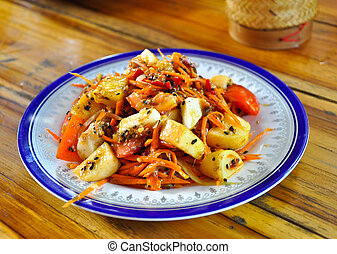 The PaPaya Salad - PaPaya Salad is favorite for thai people