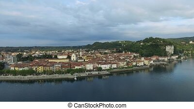Aerial of the city Arona island in Italy - Aerial of the...