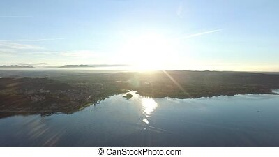 Aerial Photography sunrise morning Arona in Italy