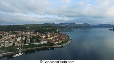 Aerial view on the older parts of the city of Arona island...