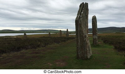 View of the neolithic Ring of Brodgar in Orkney, Scotland -...