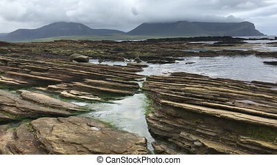 View of Warbeth Beach in Orkney, Scotland