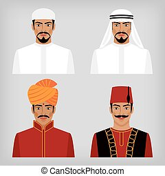 Eastern men in traditional clothes. vector illustration -...