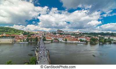 Charles Bridge and Prague Castle timelapse, view from the...