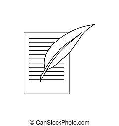 Testament letter and pen icon, outline style - Testament...