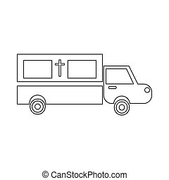 Coffin transport icon, outline style - Coffin transport icon...