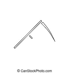 Scythe icon, outline style - Scythe icon in outline style...