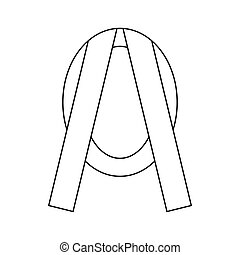 Funeral frame with ribbon icon, outline style - Funeral...