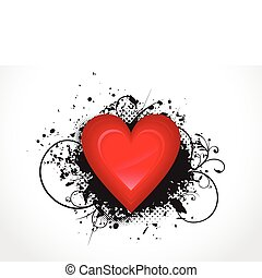 abstract glossy heart with grunge