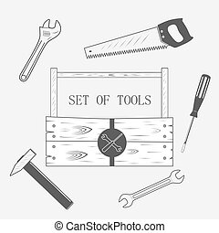 toolset in wood box - toolset, set of tool, wood box -...