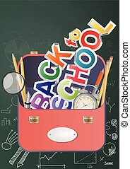 back schoolbag - illustration of back to school text with...