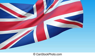 Loopable waving Great Britain flag