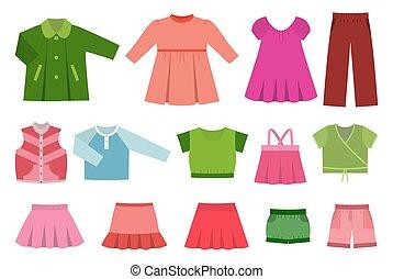 Set of baby clothes. Vector. - Vector set of children's...