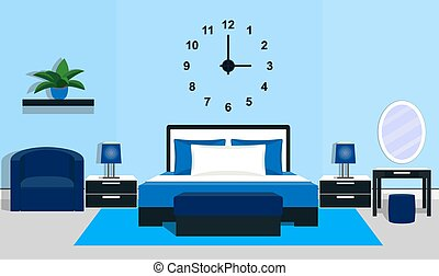 Bedroom interior in blue colors. Vector illustration.
