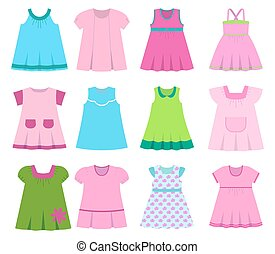 Set children's summer dresses. Vector illustration - Set...