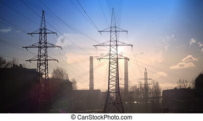 Pipe with smoke and line of electricity transmission ,