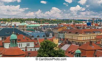 Red roofs of the city Prague timelapse shot from the high...