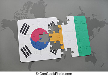 puzzle with the national flag of south korea and cote...