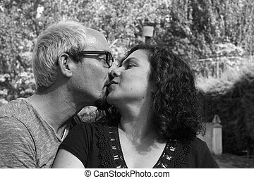 Couple in love kissing.Happy couple - Man and woman kissing....
