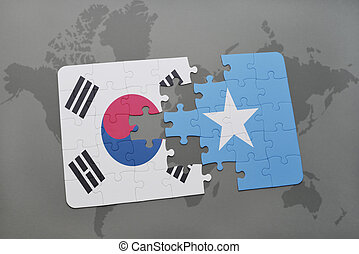 puzzle with the national flag of south korea and somalia on...