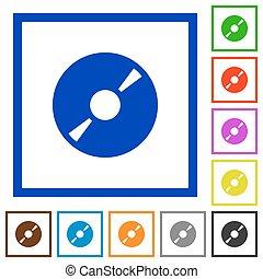 DVD disk framed flat icons - Set of color square framed DVD...