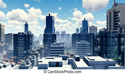 Abstract big city skyline pan shot 4K - Abstract big city...