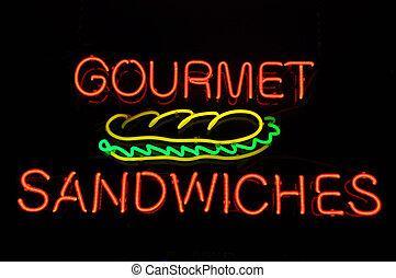 Gourmet Sandwiches Neon Sign