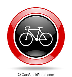 bicycle red and black web glossy round icon - bicycle round...