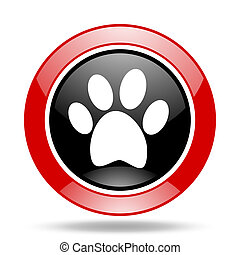 foot red and black web glossy round icon - foot round glossy...