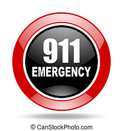 number emergency 911 red and black web glossy round icon -...