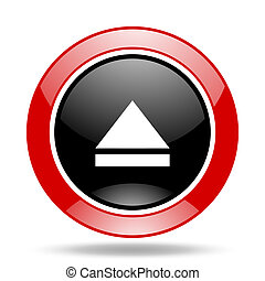 eject red and black web glossy round icon - eject round...