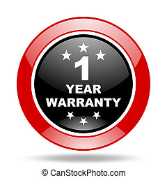 warranty guarantee 1 year red and black web glossy round...
