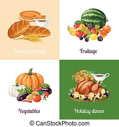 Harvest festival meals. Fruits, vegetables and traditional...