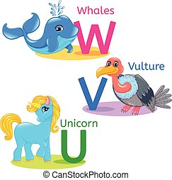 Alphabet kids animals UVW - WVU alphabet wildlife: whale,...