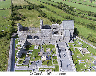 aerial view corcomroe abbey clare, burren, county clare,...