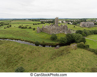aerial quin abbey, county clare, ireland
