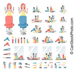 Haircut icons vector set. - Hairdressing related objects set...