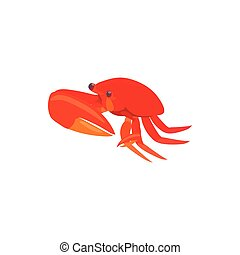 Red crab with big claws icon, cartoon style