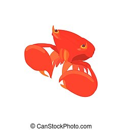 Crab with big claws icon, cartoon style