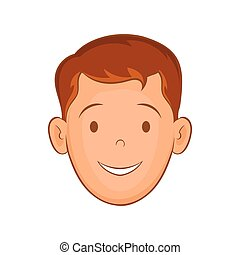 Male face with haircut icon, cartoon style