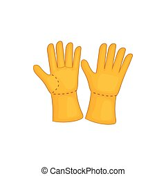 Rubber gloves icon, cartoon style - Rubber gloves icon in...