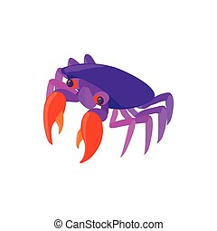 Purple crab icon, cartoon style